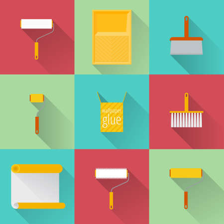 paperhanging: Home repair flat icons. What is needed for wallpapering. Icons of rollers, spatula, tray, wallpaper, wallpaper paste in a flat style. Illustration