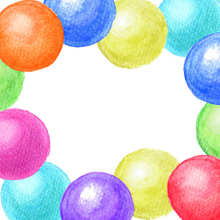 Colorful frame of watercolor balls