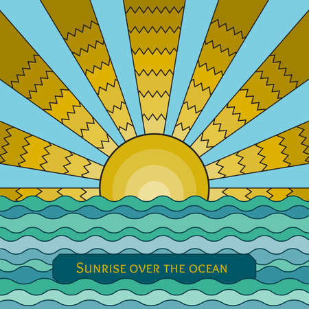 sunrise ocean: Vector colorful stained-glass window style illustration of sunrise over the ocean. Stylized mosaic background sunset over the sea. Sunrise over the waves template for your design. Illustration
