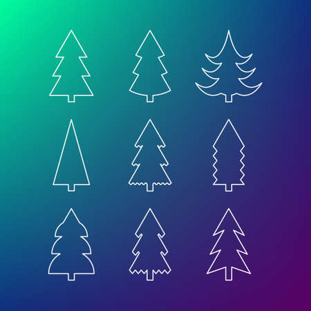 Thin line icon set of Christmas trees. Winter trees icon. 9 different Christmas trees thin line icons. Illustration
