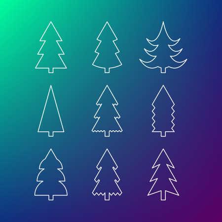 Thin line icon set of Christmas trees. Winter trees icon. 9 different Christmas trees thin line icons.
