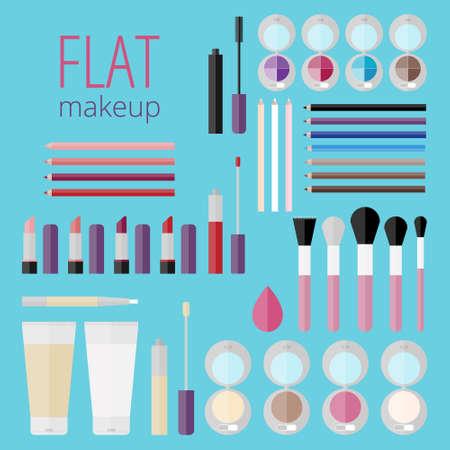 eyeliner: Flat mega set of makeup products!Makeup product for eyes, face, lips and tools. Mascara, eyeshadow, lipstick, lip gloss, lip liner, eyeliner, eyebrow pencil, brushes, sponge, foundation, powder, blush Illustration