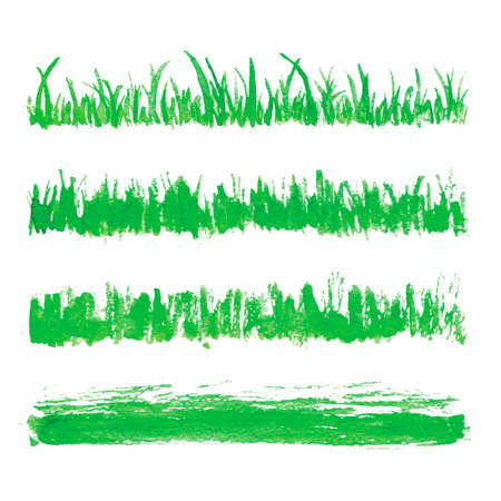 Hand drawn watercolor grass set isolated on white background. Sketch green-fodder. Watercolor green grass pattern. Abstract herb. Summer juicy thick grass collection. Spring fresh grass kit.