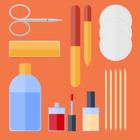 nail file: Flat set of manicure equipment. Nail clippers, nail polish remover, orange sticks, nail  polish, nail file, glass nail file, nail file polishing, cotton pads