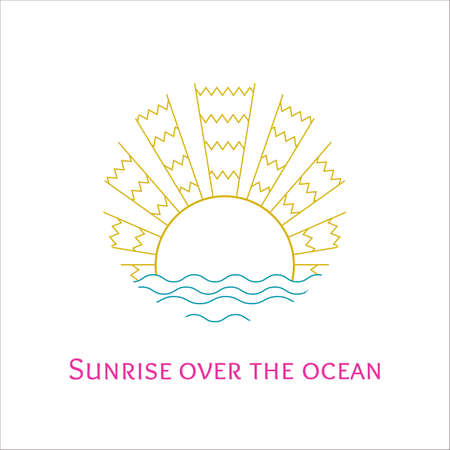 sunrise ocean: Vector colorful line art illustration of sunrise over the ocean. Stylized mosaic logo sunset over the sea. Outline sunrise over the waves icon