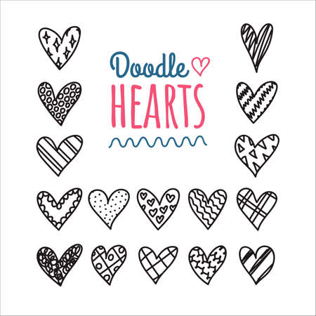 Hand drawn doodle hearts with different pattern icon set. Valentines day hearts collection in cartoon style. Love, romantic sketch. Design, web, ads, wrapping paper, gift bags, greeting cards. Ilustração