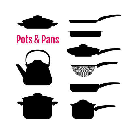 utensils: Set of silhouettes utensils. Pots, pans, kettle, colander, and other kitchen tools for cooking. Icons for your design, web, ads.