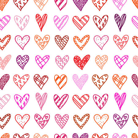 colorful heart: Hand drawn seamless pattern with doodle hearts. Valentines day background. Sketches hearts with different pattern in cartoon style. Love, romantic. Design, wrapping paper, gift bags, greeting cards.