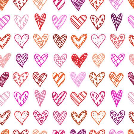 Padrão sem emenda desenhada de mão com doodle corações. Plano de fundo dia dos namorados. Esboços de corações com padrão diferente no estilo cartoon. Amor romântico. Design, papel de embrulho, sacos de presentes, cartões de felicitações.