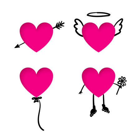 volume: Valentines Day heart stickers with doodle details. Heart cut out on a paper with arrow, heart balloon, heart-angel with wings and a halo, heart with flower and roller rides on a date in doodle style.