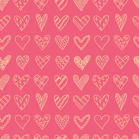 gift bags: Hand drawn seamless pattern with doodle hearts. Valentines day background. Sketches hearts with different pattern in cartoon style. Love, romantic. Design, wrapping paper, gift bags, greeting cards.