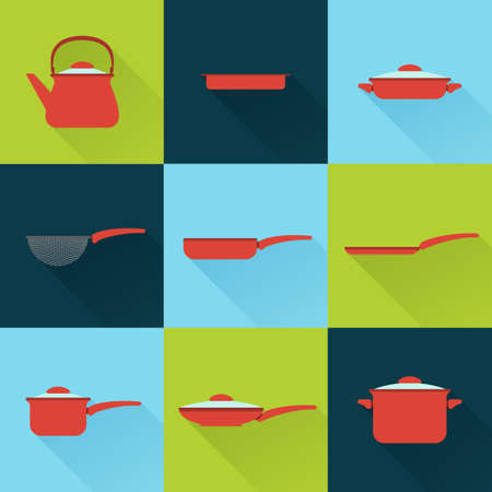 colander: Utensil illustrations set in flat style with long shadow. Pots, pans, kettle, colander, and other kitchen tools for cooking. Icons for your design, web, ads.