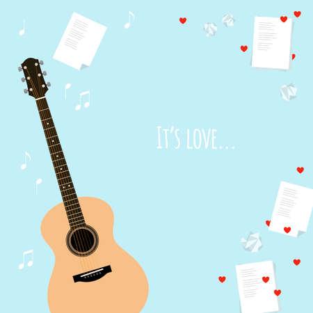 music lyrics: tarjetas plantilla del vector del día de San Valentín con serenata. Marco del estilo de plano con la guitarra, música, letras, un trozo de papel arrugado y corazones. Escribir canciones sobre el amor ilustración. Bandera. Web, diseño, anuncio.