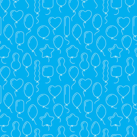 balloon background: Vector seamless pattern with balloons of different shapes. Endless blue birthday background with line art icons of balloons. Air balls with helium, flying up. Wrapping paper, gift bags design, ads.