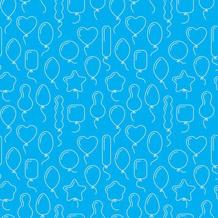 endlos: Vektor nahtlose Muster mit Luftballons in verschiedenen Formen. Endloses Blau Geburtstag Hintergrund mit Linie Kunst-Ikonen von Ballons. Luftballons mit Helium, fliegen auf. Geschenkpapier, Geschenktüten Design, Anzeigen.