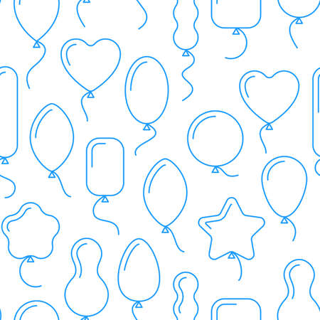 line vector: Vector seamless pattern with balloons of different shapes. Endless birthday background with line art icons of balloons. Air balls with helium, flying up. Wrapping paper, gift bags design, ads. Illustration