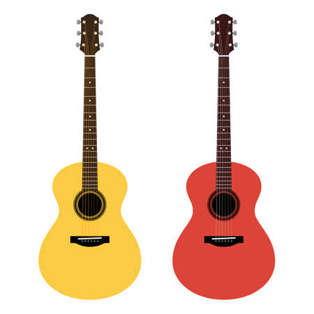 frets: Vector detailed illustration of acoustic guitars in a flat style. Yellow and red icons six-string guitar isolated on white background. Icons of musical instrument for music shop design, ads, web.