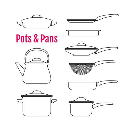 colander: Set of contour silhouettes utensils. Pots, pans, kettle, colander, and other kitchen tools for cooking in line art style. Icons for your design, web, ads.