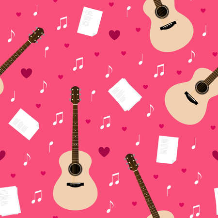 Vector seamless pattern with guitars, lyrics, notes and hearts. Creativity, writing love songs, serenade. Valentines day pink texture for wrapping paper, gift bag, web and ads design.