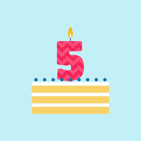 Vector biscuit birthday cake with a candle number 5 in flat style. Icon of cupcake with whipped cream and blueberries. For birthday party invitation and cards design. Celebrating the fifth birthday.