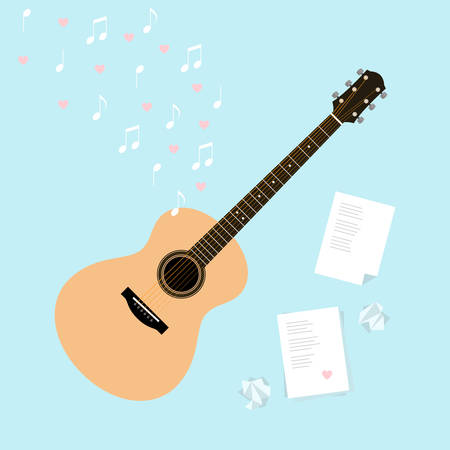 writes: Vector Valentines day template cards with serenade. Flat style illustration with guitar, music, lyrics, a crumpled piece of paper and hearts. Writing songs about love composition. Web, design, ads.