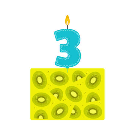 fruit cake: Vector jelly birthday cake with a candle number 3 in flat style. Icon dessert made of natural fruit juice, with kiwi. For birthday party invitation and cards design. Third birthday celebration. Illustration