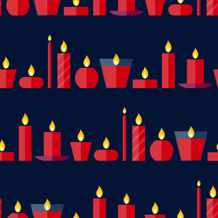 waxen: Vector seamless pattern of different burning red candles standing in a row on a dark blue  background in flat style. Endless texture for wrapping paper, holiday decoration and design, gift bags, cards