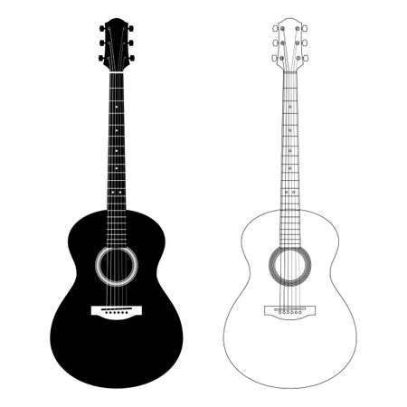 Vector silhouette and contour illustration of acoustic guitars. Detailed icons six-string guitar isolated on white background. Icons of musical instrument for music shop design, ads, web. Line art. Çizim