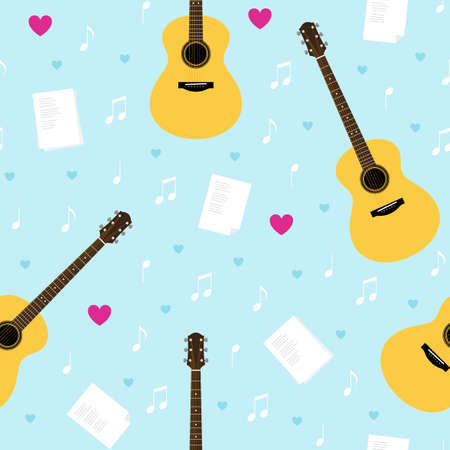 minstrel: Vector seamless pattern with guitars, lyrics, notes and hearts. Creativity, writing love songs, serenade. Valentines day light blue texture for wrapping paper, gift bag, web and ads design. Illustration
