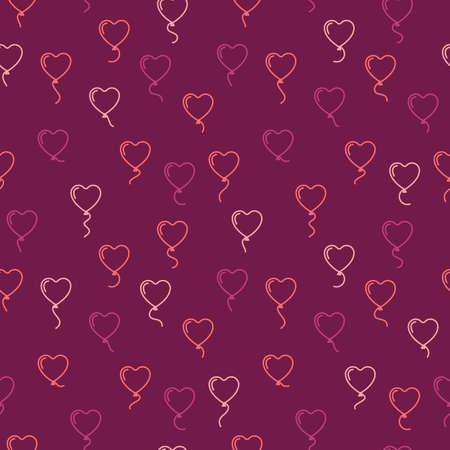 gift bags: Vector seamless pattern with balloons in the form of hearts. Valentines day seamless background with air balls flying in the sky. Purple endless texture for wrapping paper, gift bags, design. Love.