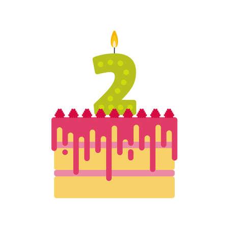 tortas de cumpleaños: galletas de vectores torta de cumpleaños con una vela número 2 en estilo plano. Icono de la magdalena con crema, rosa de hielo y frambuesa. Por invitación de la fiesta de cumpleaños y tarjetas de diseño. En segundo lugar la celebración del cumpleaños. Vectores