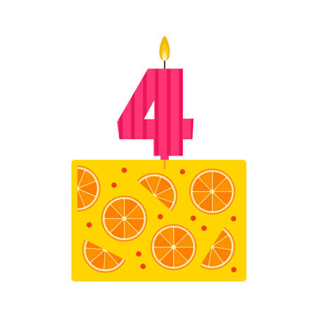 cowberry: Vector jelly birthday cake with a candle number 4 in flat style. Icon dessert made of natural fruit juice, with orange and cranberries or cowberry. For birthday party invitation and cards design. Illustration