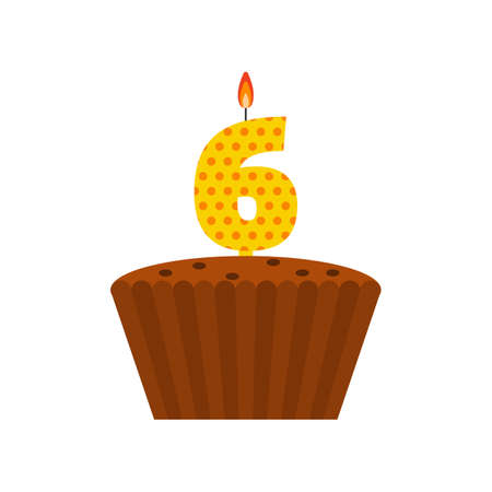 sixth birthday: Vector chocolate biscuit birthday cake with a candle number 6 in flat style. Icon of cupcake with pieces of chocolate, raisin. For birthday party invitation, cards design. Sixth birthday celebration Illustration