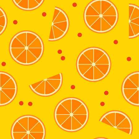 gelatin: Vector seamless pattern with slices of orange and cowberries or cranderries in flat style. Healthy natural food, tropical fruit, berries. Endless texture for wrapping paper, fabric, ads, web, design. Illustration