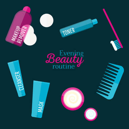 eye cream: Vector evening beauty routine illustration set in flat style. Icons of different bottles for cosmetics, cotton pads, face cream and eye cream, tooth brush, comb. For web, ads, design. Illustration