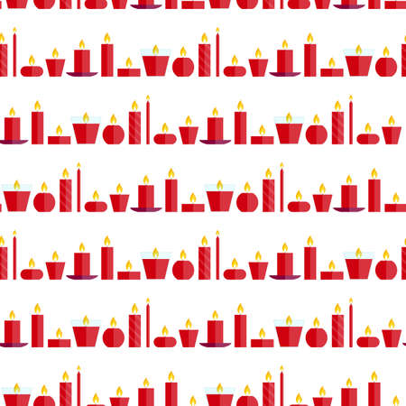 waxen: Vector seamless pattern of different burning red candles standing in a row on a white background in flat style. Endless texture for wrapping paper, holiday decoration and design, gift bags, cards