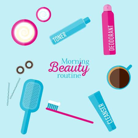 schönheit: Vector Morgen Schönheit Routine Illustration in flachen Stil. Icons von verschiedenen Flaschen für Kosmetik, Gesichtscreme und Augencreme, Zahnbürste, Haarbürste, Tasse Kaffee. Für Web, Anzeigen, Design. Illustration