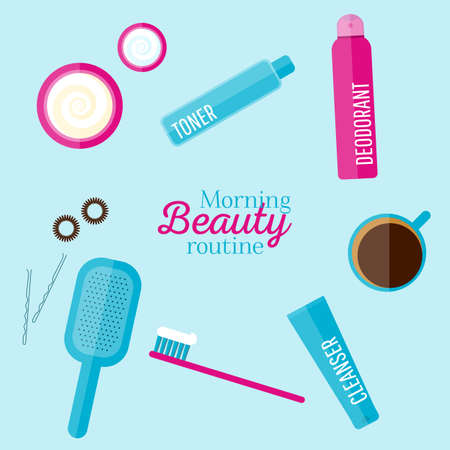 morning routine: Vector morning beauty routine illustration set in flat style. Icons of different bottles for cosmetics, face cream and eye cream, tooth brush, hair brush, cup of coffee. For web, ads, design. Illustration