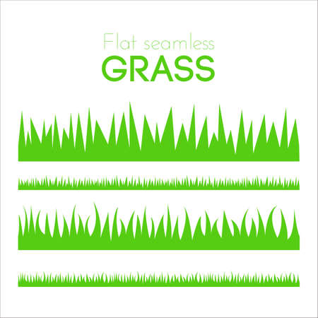 horizontal: Vector flat grass set isolated on white background. Horizontal row of grass in cartoon style. Detailed illustration of herbs. Green grass pattern for illustration and game design. Abstract grass.