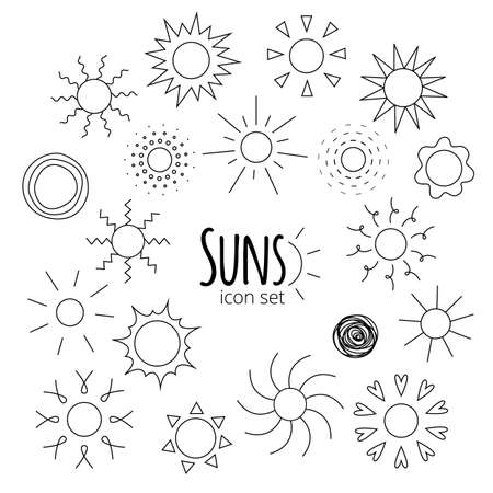 suns: Vector suns  line art icons of different forms isolated on white background. Collection of suns thin line silhouettes for web, design. Doodle and geometric sunny weather sign, pictogram.