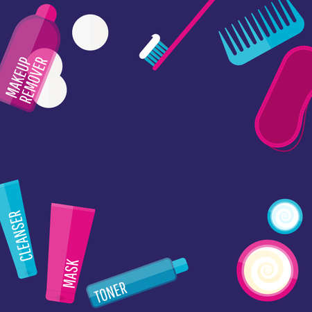 face mask: Vector evening beauty routine frame in flat style. Icons of different bottles for cosmetics, face cream and eye cream, tooth brush, hair brush, sleep mask. For ads, design. Illustration set, banner Illustration