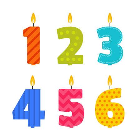 candela: design piatto candela di compleanno impostato a forma di numeri 1, 2, 3, 4, 5, 6. Burning candele colorate con diversi modelli di festa in stile piatto. Per l'invito anniversario del partito, decorazione. Vettoriali