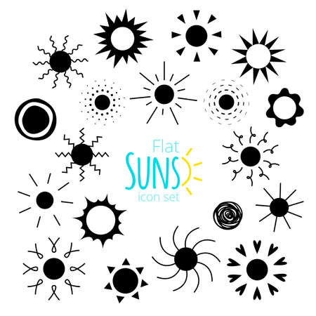 suns: suns black icons of different forms isolated on white background. Collection of suns silhouettes for web, design. Doodle and geometric sunny weather sign, pictogram.