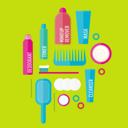 hair brush: beauty products illustration set in flat style. Icons of different bottles for cosmetics, face cream and eye cream, tooth brush, hair brush, deodorant. For ads, web, design. Washing, hygiene.