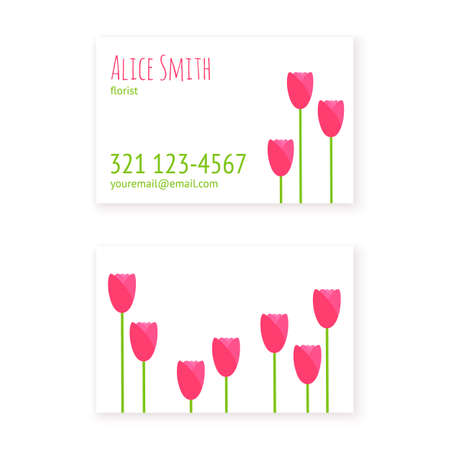 flower layout: flat design template business cards florist or flower shop, beauty salon or spa with simple tulips. Layout business cards. Mockup for presentation business card design to the client.