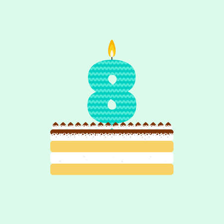 souffle: tiramisu birthday cake with a candle number 8 in flat style. Icon of dessert with mascara cream and cocoa. For birthday party invitation and cards design. Celebrating the eighth birthday. Illustration