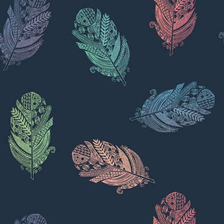 illustrated: Vector graphic seamless pattern from silhouette bird feathers hand-drawn.