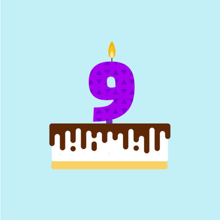ninth birthday: Vector birthday cake with a candle number 9 in flat style. Icon, illustration of torte. Illustration
