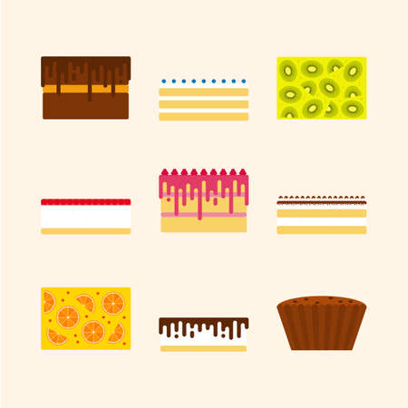 torte: Vector illustrations set of birthday cakes in simple geometric flat style.