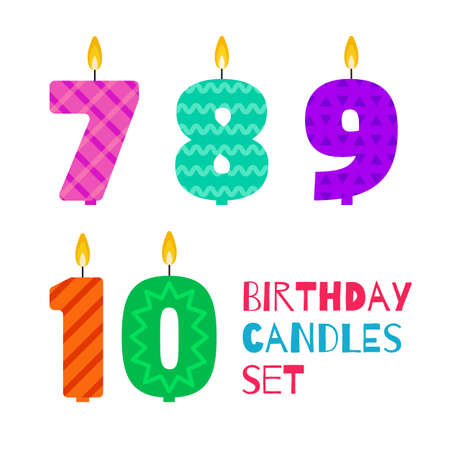 7 9 years: Vector flat design birthday candle set in the shape of numbers 7, 8, 9, 10.